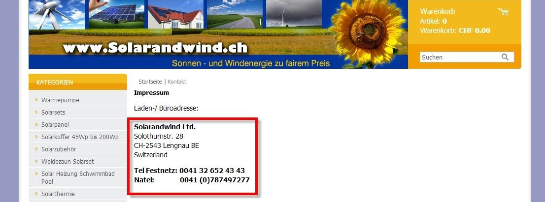Der Anbieter hat als Kontaktmöglichkeit die Telefonnummer hinterlegt.