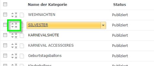 Durch die Pfeile verschieben Sie im Editor die Kategorien.
