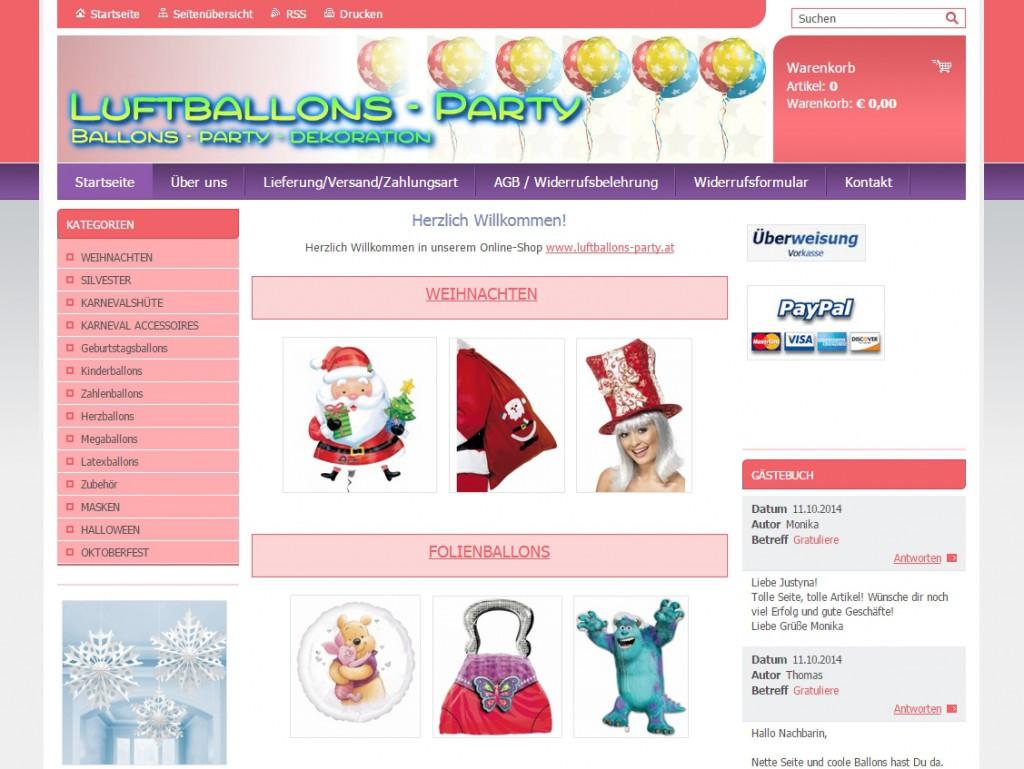 Startseite der neuen Online-Shops für Dekoration, Luftballons und Partyzubehör.