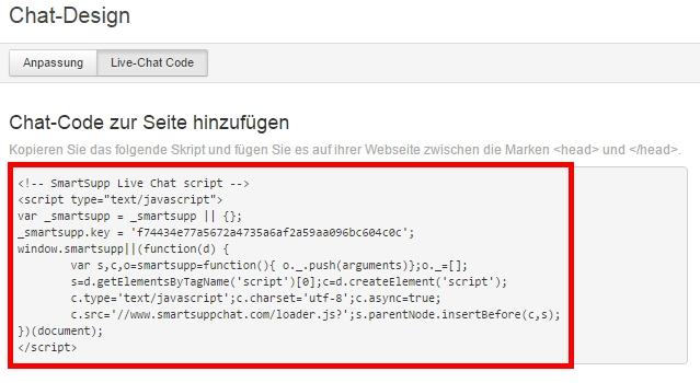 Der Embed-Code für Ihr Live-Chat Widget.