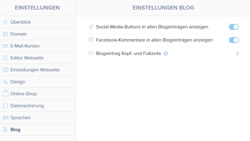 Blog-Eistellung im Webnode-Editor