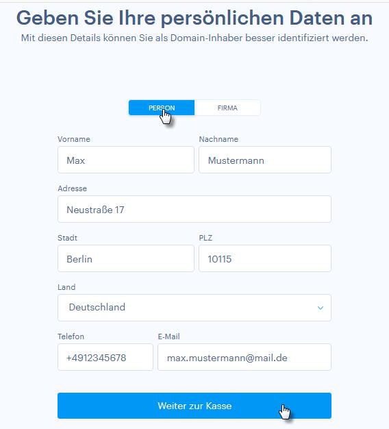 Persönliche Daten für die Domain-Registrierung eingeben