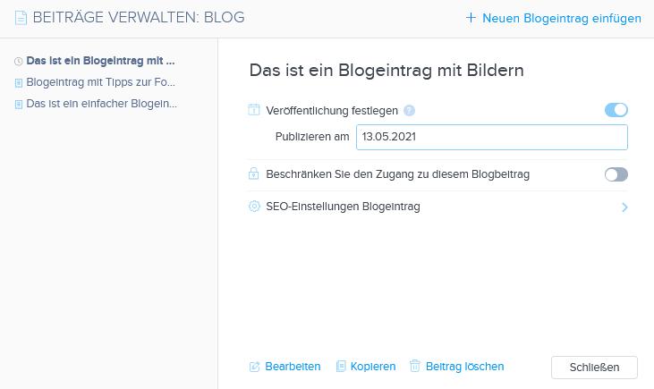 Publizieren des Blogbeitrags planen