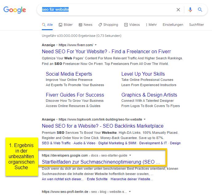 Organische Suchergebnisse in Google-Suche
