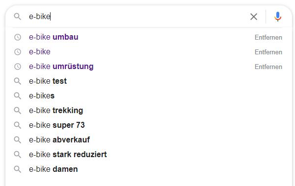 AutoFill-Funktion in der Google-Suche