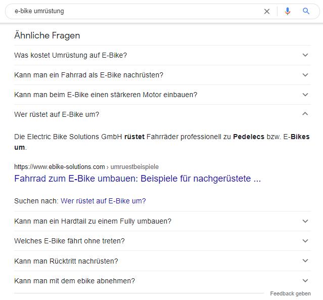Ähnliche häufig gestellte Fragen in den Google-Suchergebnissen
