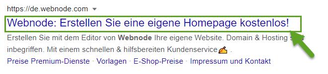 Website-Titel in der Suchergebnissen