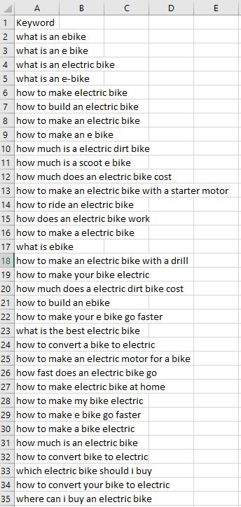 Beispiel für die Tabelle mit den Schlüsselphrasen