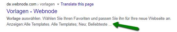 Wie die Meta-Beschreibung in den Google Suchergebnissen angezeigt wird.