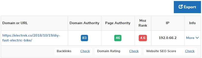Tool zur Bewertung der Autorität von Domains